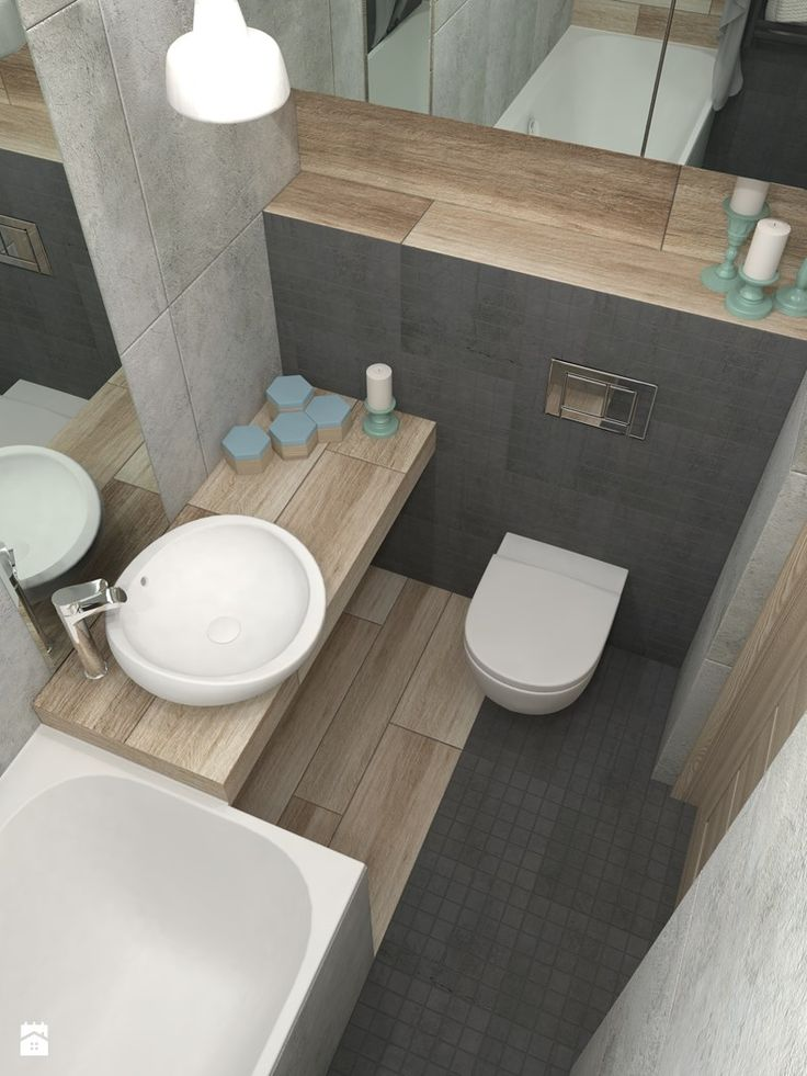 Wood Plank Tile Tiny Ensuite Bathroom In wall cistern Wall-hung Toilet Above Counter Sink