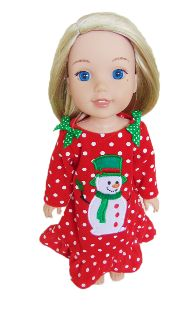 Fits Wellie Holiday Red Snowman nightgown for Wellie Wishers