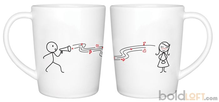 Unique His and Her Coffee Mugs, You're so beautiful Couple Coffee Mugs-BoldLoft, cute for Valentine gift...could also do a DIY version using paint pens for ceramics/glass or try the sharpie method