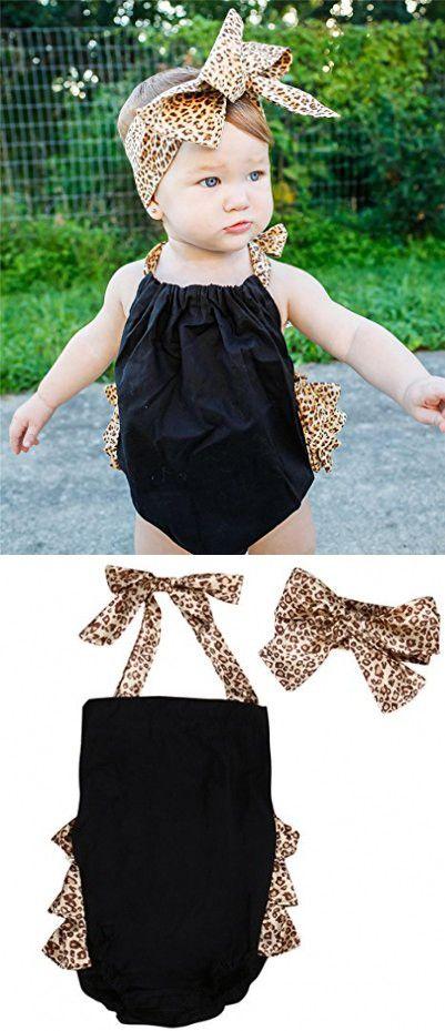 Newborn Toddler Infant Baby Girl Romper Jumpsuit+Headband Clothes Sunsuit Outfit (6-12 Months, Leopard)