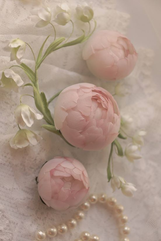 Delightful Soft Pink Cabbage Roses ~ Millinery