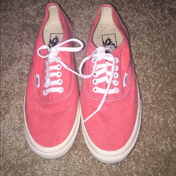 Coral vans! Coral vans, only worn once, good condition and no major flaws! Vans Shoes Sneakers