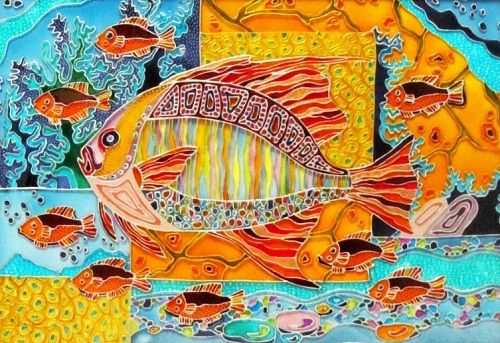Underwater World. Stained Glass Painting by St. Petersburg artist Iris