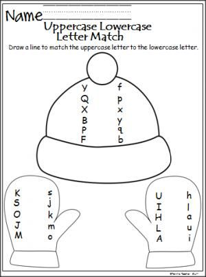 This is a free winter uppercase and lowercase letter matching worksheet.