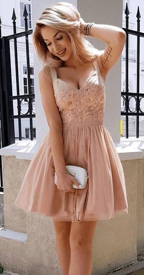 bbc7a5d02496a Broad Spaghetti Strap Lace Applique Rose Tulle Mini Homecoming Dresses  ARD1687