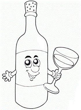 Ausmalbilder Malvorlagen - Flasche kostenlos zum