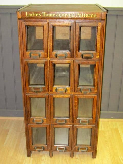 Antique Counter Store Bin Cabinets | Antique Country Store Ladies Home Journal Patterns Cabinet - Store ...