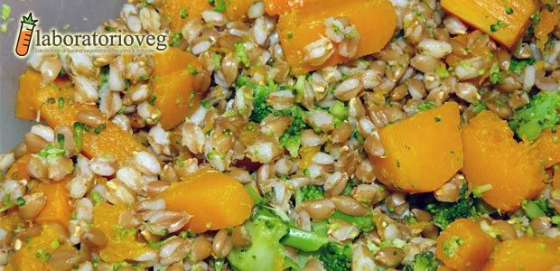 Fall farro salad with squash and broccoletti - (without the ginger)