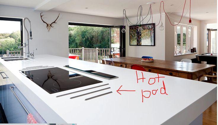Concrete countertop Hot pad inserts. LOVE!!
