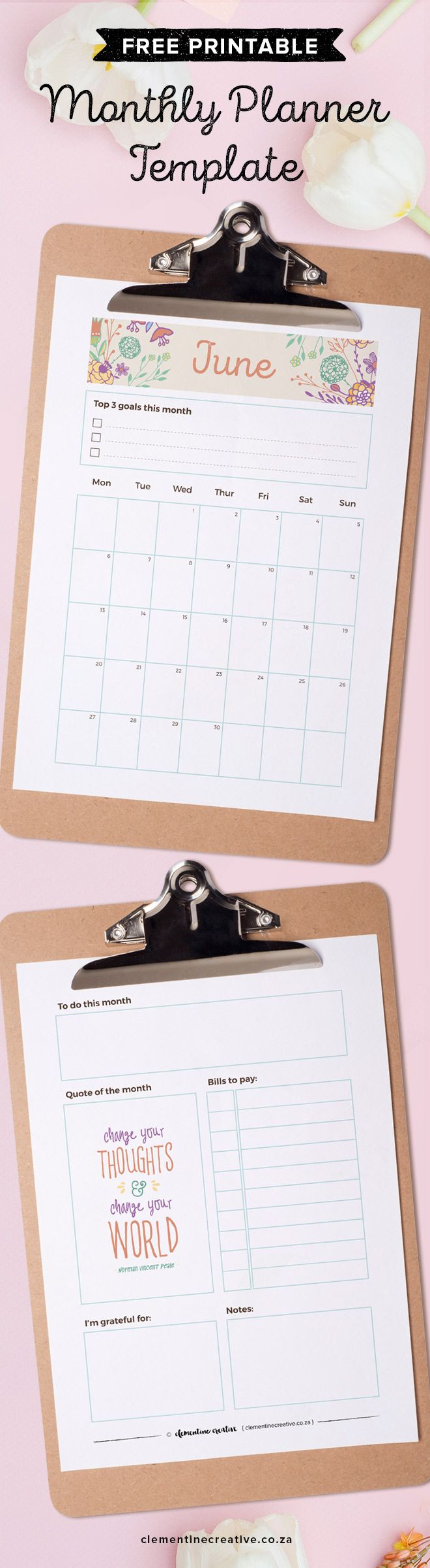 Write down important dates, birthdays and meeting in this beautiful free printable June calendar/monthly planner. You can even edit the text on this template to customise it to your liking. Get this calendar and a new one delivered straight to your inbox every month.