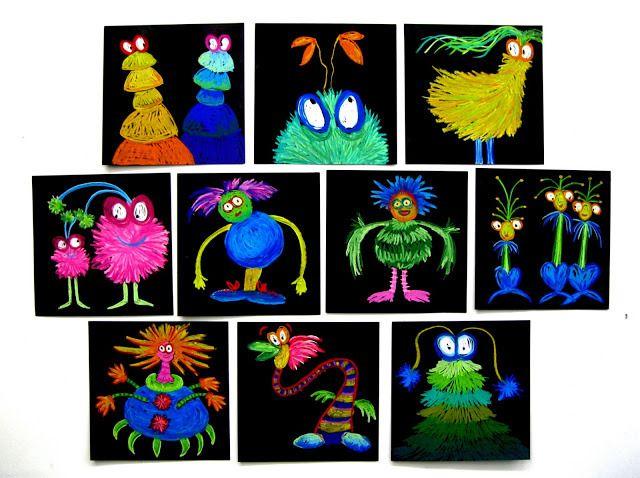 Monsters. Met kleurpotloden tekenen op zwart papier