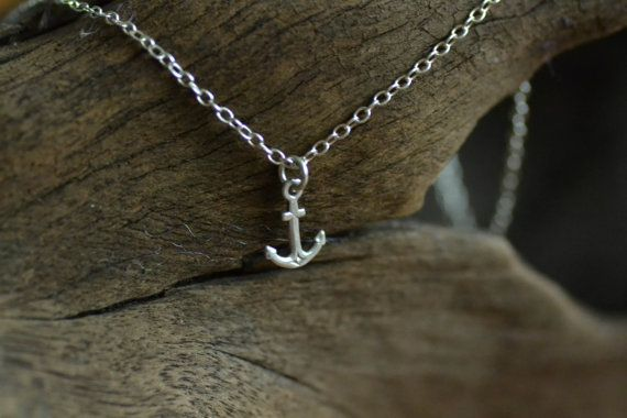 Silver Anchor Necklace by rhapsodyjewellery on Etsy
