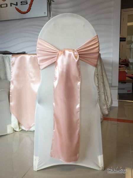 Blush Pink Chair Sash & Spandex Chair Cover   Phat Boy Productions   Windsor Wedding Decor   Chair Covers & Sashes