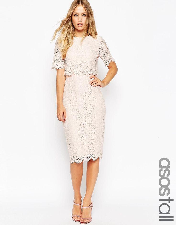 Image 1 Of Asos Tall Lace Crop Top Midi Pencil Dress