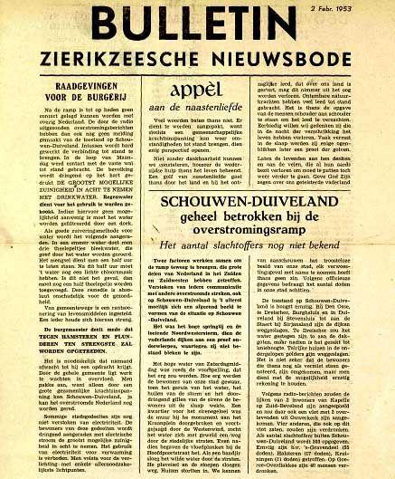 Zierikzeesche nieuwsbode. Uitgegeven 2 februari 1953.