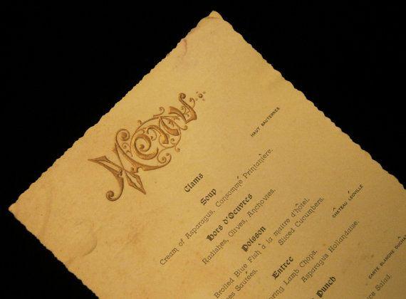Mouquin 39 s restaurant 19th century paper menu escoffier may for Auguste escoffier ma cuisine book
