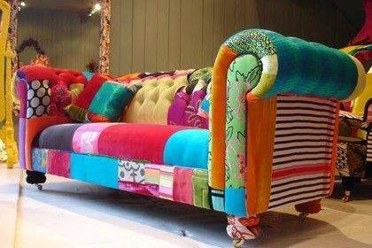 funky patchwork sofa I would so totally waste all of my money on this and love every cent and minute of it