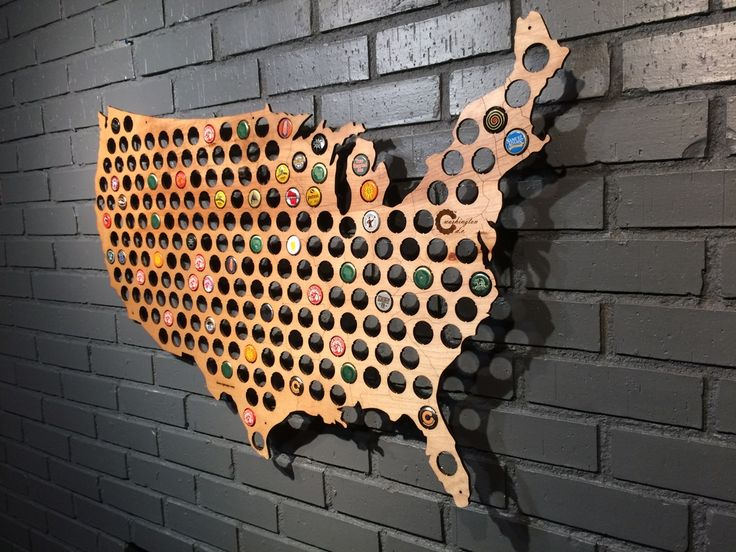 A USABeer Cap Mapis a great way to display your beer cap collection on  your wall and show pride in your country. Display caps geographically or  mix it up to create your own personalized art.
