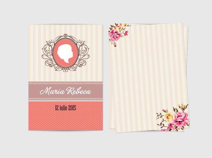 Wedding invitations ideas/Idei invitatii de nunta originale. Invitație retro cu siluetă format A6 (10.5x15 cm) cu deschidere în trei părţi.
