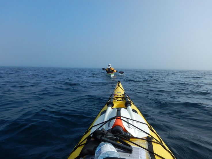 Paddling back to Tobermory, Ontario from Cove Island in the fog.