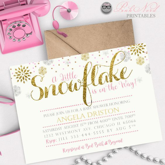 A little snowflake baby shower invitation Winter baby shower printable - Pink Nerd Printables a little snowflake baby shower invitation, glitter snowflake invitation gold winter baby shower invitation glitter snowflakes