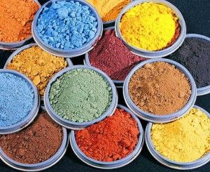 Concrete Pigment- see chart:  http://directcolors.com/applications/concrete-pigments/color-chart/