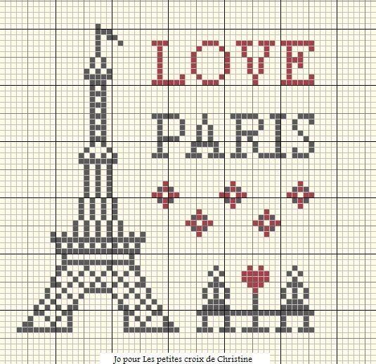 Grille 31 : Love Paris - les petites croix de Christine