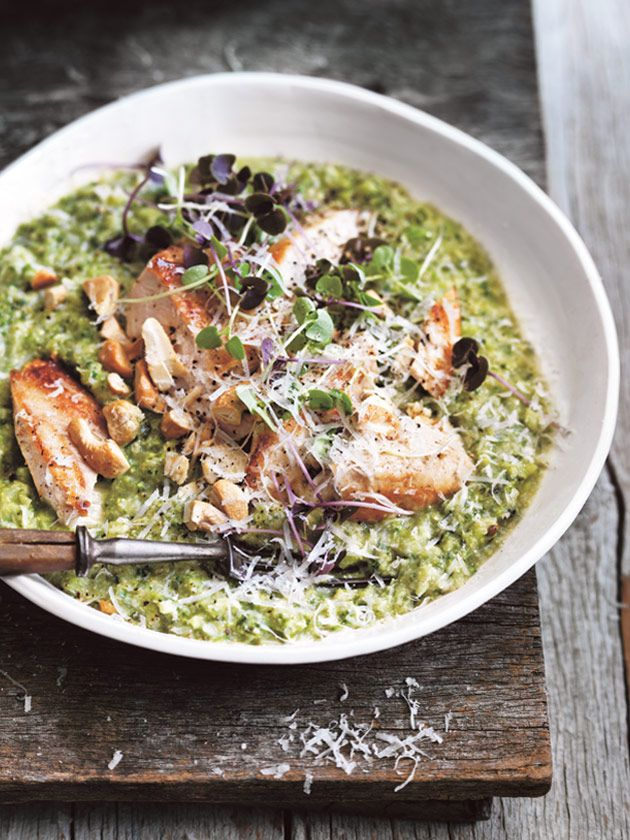 For a protein and fibre boost, try this clever quinoa risotto with a combination of fresh broccoli and lean chicken.