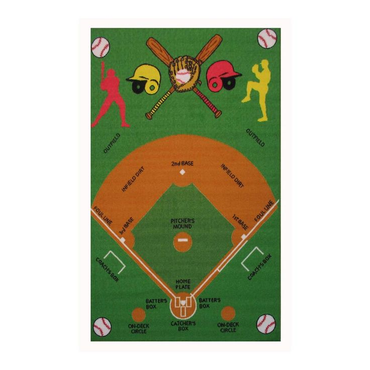 Fun Rugs Time Collection Home Kids Room Decorative Floor Area Rug Baseball Field 39