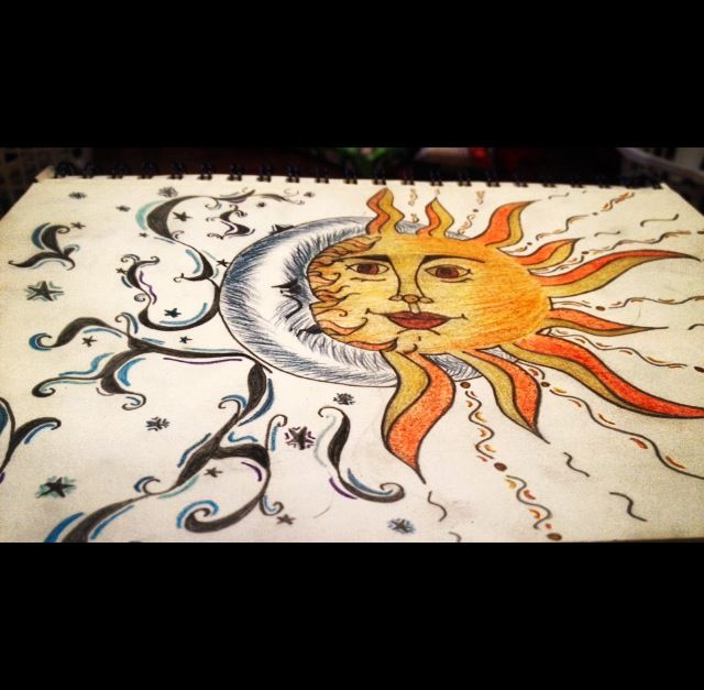 Sun and moon drawing | Drawings | Pinterest