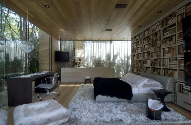 bedroom with glass walls and wood ceiling