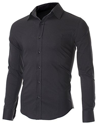 FLATSEVEN Men's Slim Fit Casual Button Down Dress Shirt Long Sleeve (SH600) Black, XL FLATSEVEN http://www.amazon.com/dp/B00OWXYDSQ/ref=cm_sw_r_pi_dp_hXe3ub0C8AY2E #FLATSEVEN #Mens #Casual #Shirt #Fashions #Denim #Formal