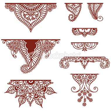 QuickDo Henna: Mehndi Ornament, maybe for below the palms, along a diagonal line cutting across the palm, on the foot along the ankles or above the toes...playing with them is easy too by making the base-line 'v' shaped instead of horizontal.  #henna #tattoo #mehndi