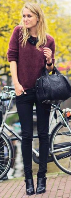 Outfit Posts: outfit post: maroon sweater, black skinny jeans, black riding boots