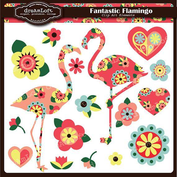 Fantastic Flamingos Printable Clip Art #flamingos #folkart #printable #pink