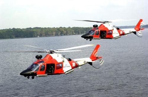 """MH-68 Stingray helicopter: JACKSONVILLE, Fla. (Oct. 24)--Two HITRON's, the Coast Guard's latest drug enforcement weapon, are out on patrol aiding in port security over St. John's river. The Coast Guard recently unveiled its new MH-68 Mako helicopter which is specifically designed to encounter the """"go-fast"""" drug smuggling boat. USCG photo by PA3 Dana Warr"""
