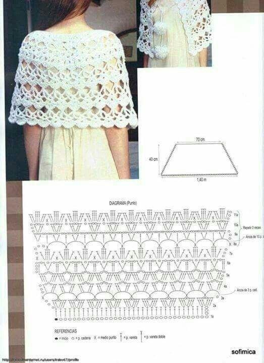 44 best Poncho tejido images on Pinterest | Crochet poncho, Shawl ...