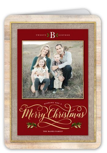 Simple Merry Monogram Christmas Card, Rounded Corners, Red