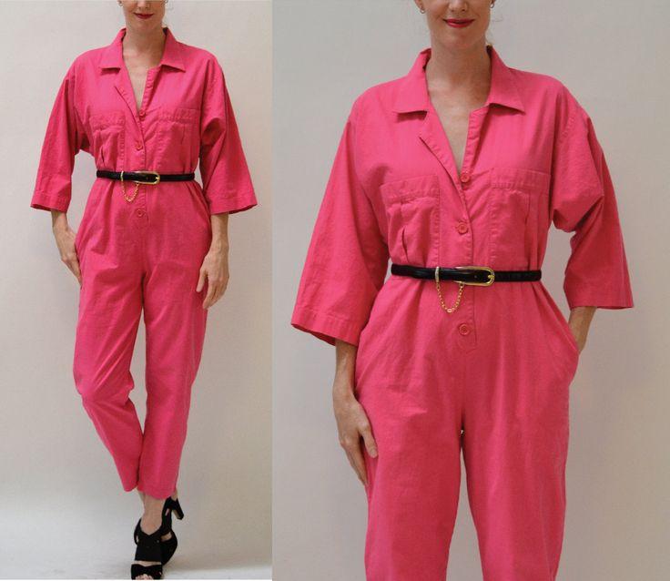 Vintage Diane Von Furstenberg Jumpsuit Size Medium Bright Pink Fuchsia // 80s Vintage Cotton Jumpsuit Pantsuit size Medium PINK By DVF by Hookedonhoney on Etsy