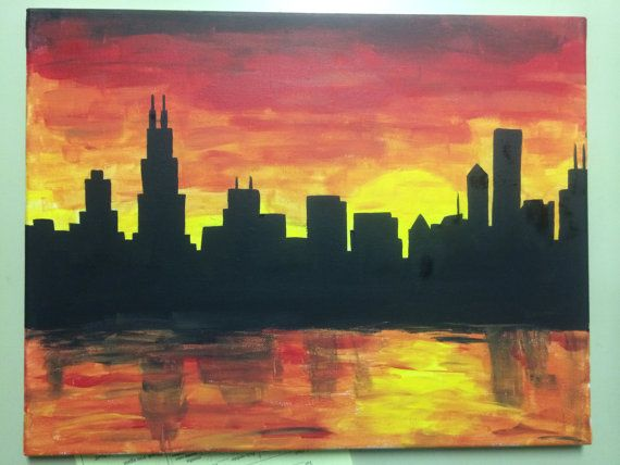 Chicago skyline silhouette canvas painting by DreamCreateInspire96