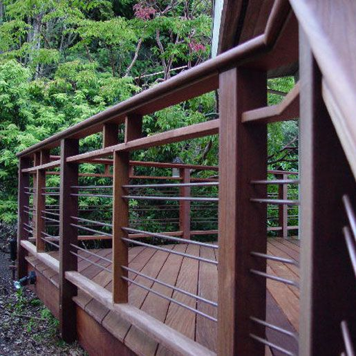 Charmant Decoration, Firm And Strong Horizontal Deck Railing Design With Metal  Combination With Wooden Deck Flooring Aside Lush Vegetation ~ Horizontal Deck  Railing ...