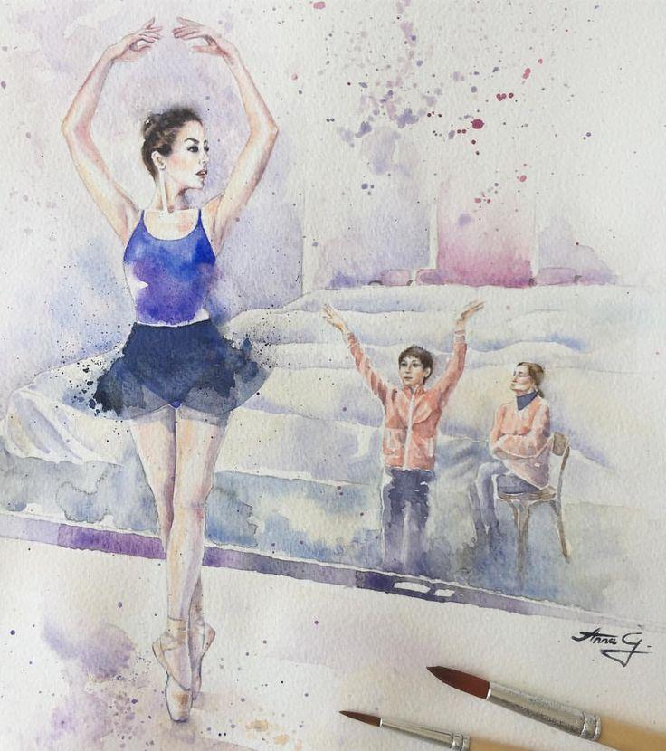 """""""Mi piace"""": 123, commenti: 9 - Anna G. (@anna_g_fashion) su Instagram: """"~ Ballet Class ~ Watercolour ________________________________________________________#acquarello…"""""""