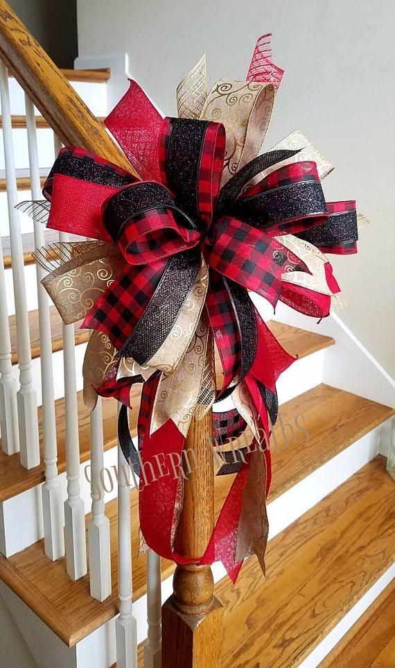 Red /& black buffalo plaid bow tree topper