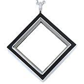 SILVER TONE DIAMOND LOCKET WITH BLACK ENAMEL www.mycharminglockets.ca #SHD #southhilldesigns @byjanehedges