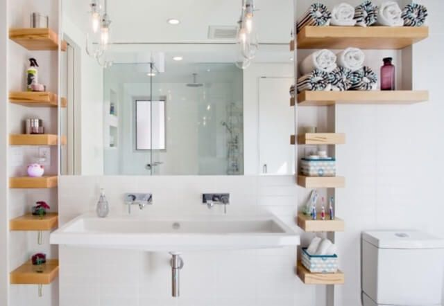 Get The Best Use Of Your Bathroom Storage By Planning Your Bathroom S Design Yonohomedesign Com In 2020 Bathroom Wall Shelves Small Bathroom Storage Small Bathroom