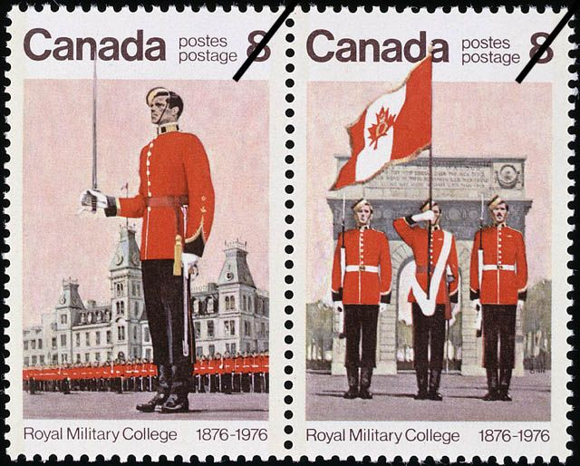 Royal Military College of Canada 8 cent stamp 1976 Copyright belongs to the Crown ; Credit: Canada. Department of National Defence / Library and Archives Canada / ecopy