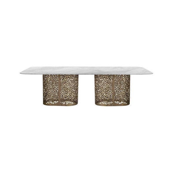 Zanaboni for Borbonese Illusion Dining Table (141.480 NOK) ❤ liked on Polyvore featuring home, furniture, tables, dining tables, white round table, round furniture, white dining table, white table and white kitchen table