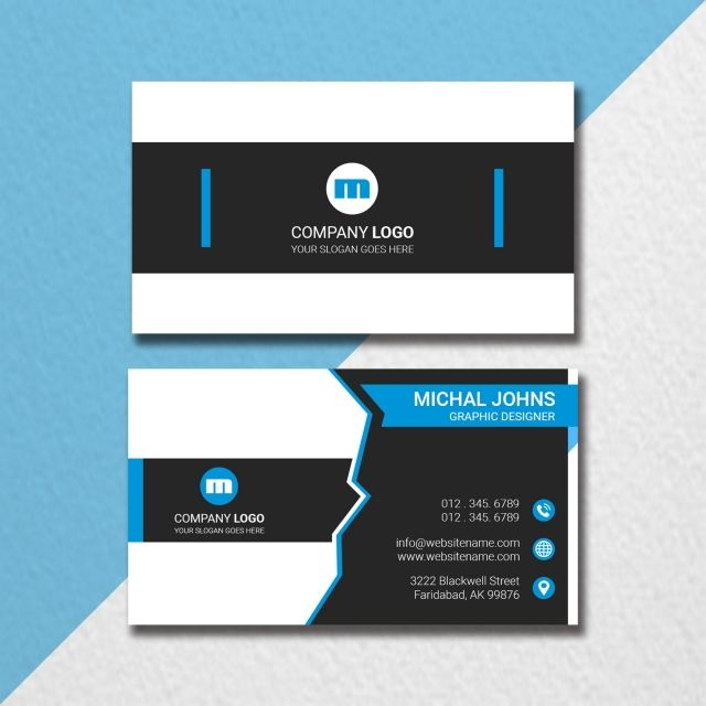 Minimal Blue Black Business Card With Images Black Business