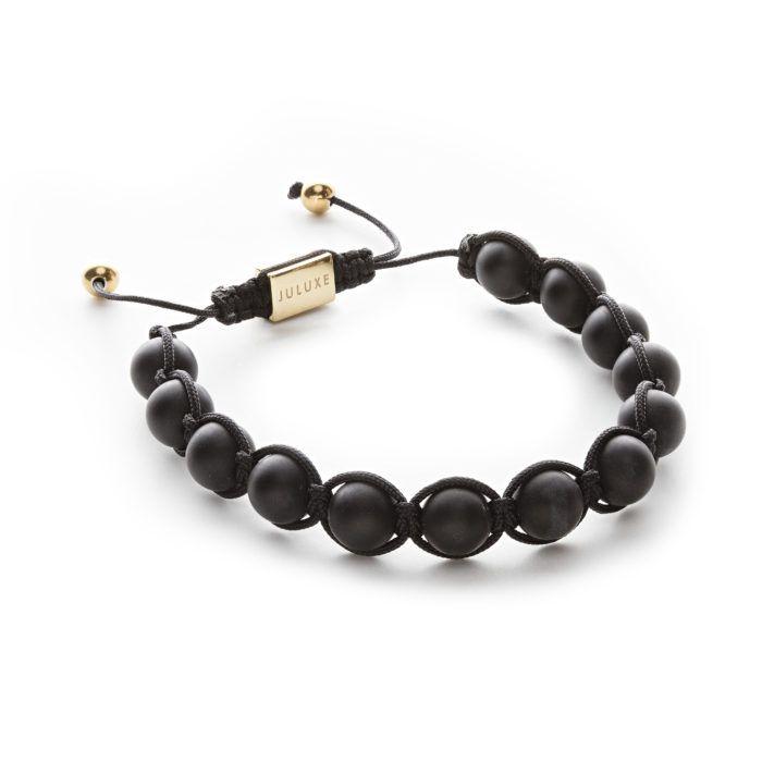 MATTE BLACK ONYX Thirteen matte black onyx balls (10mm) Adjustable size (wax coated rope)