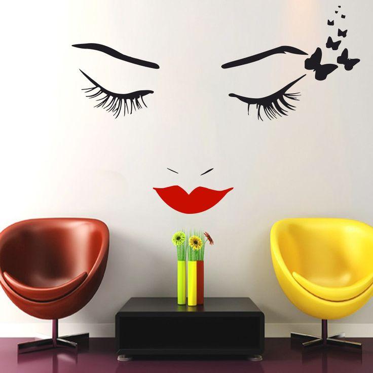 Face Makeup Wall Decal Lips Eyes Vinyl Sticker Decals Girl